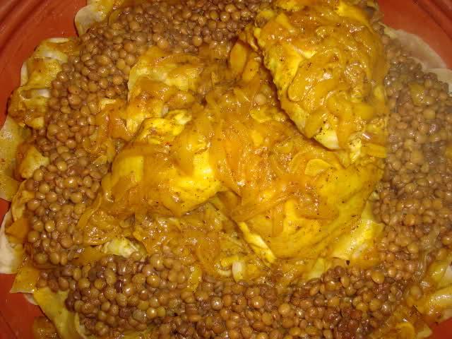 Rfissa met kip en linzen maken