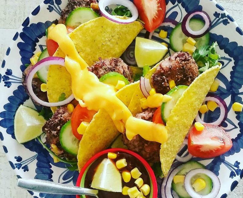 Taco's met vegetarische kidneybonen burger