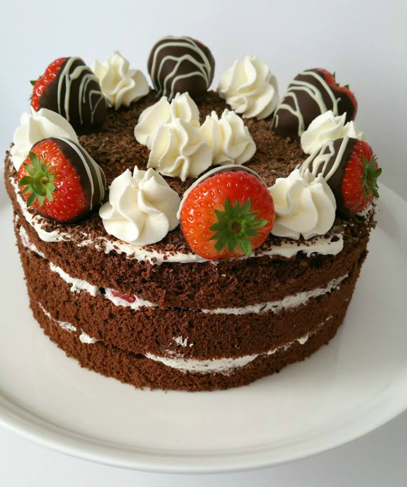 aardbeien slagroom chocoladetaart recept