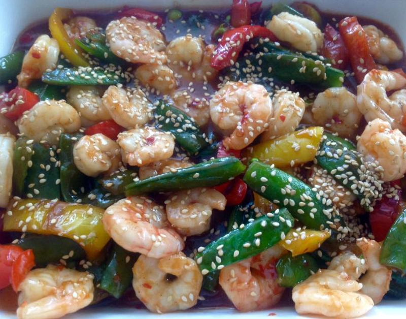 Chili gamba's met groenten