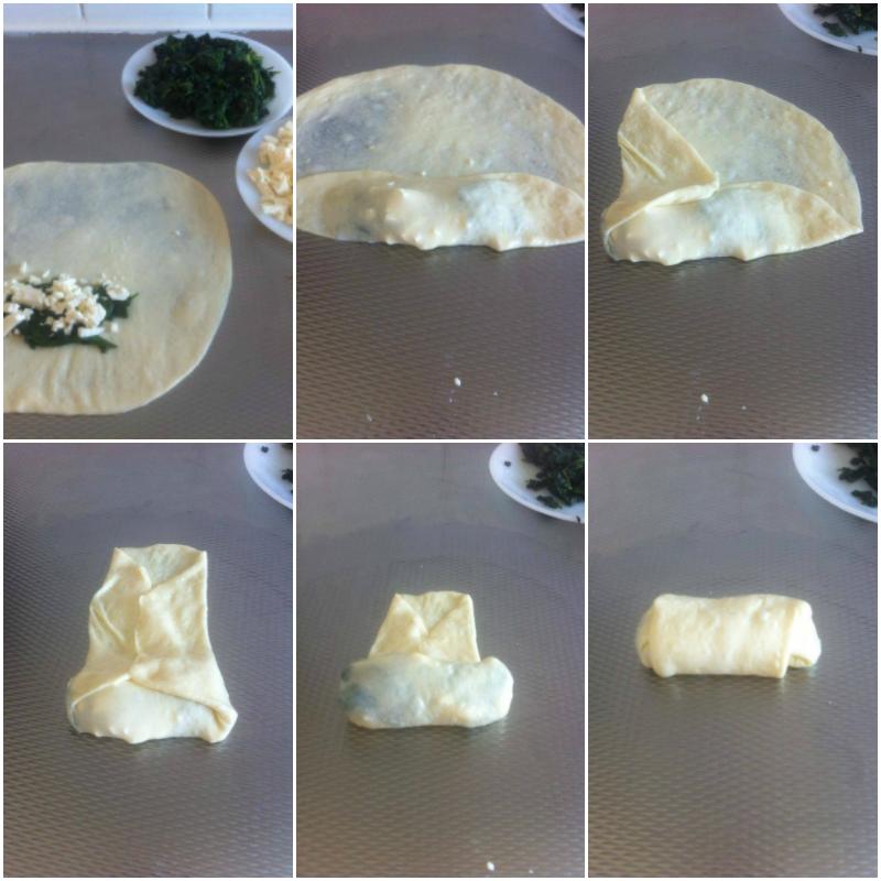 broodjes gevuld met feta kaas en spinazie