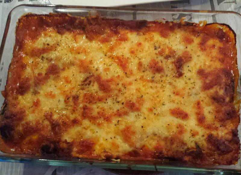 Aubergine lasagne met mozzarella