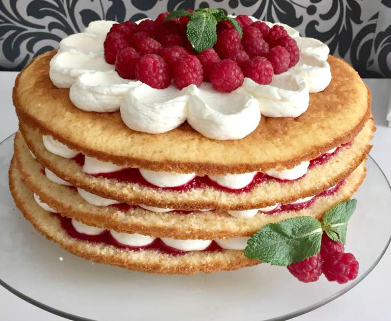 Frambozen vanille cake