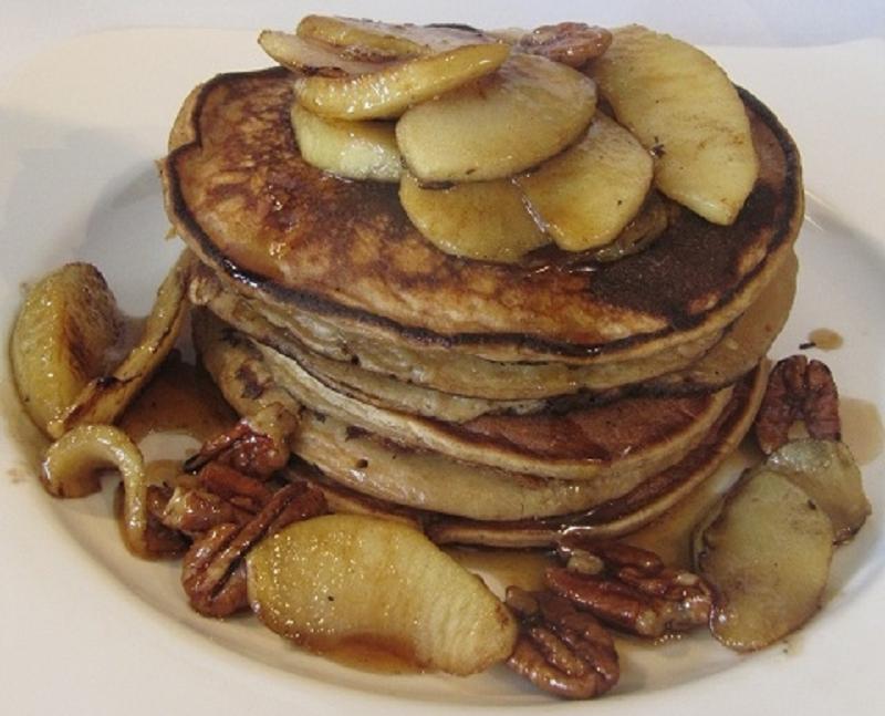 Ricotta pancakes met gebakken appel