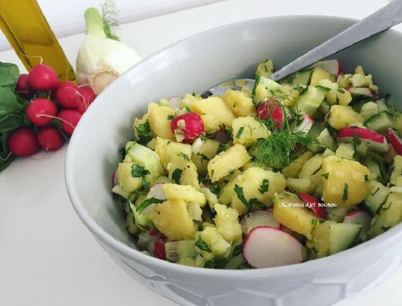 Aardappelsalade met radijs en venkel