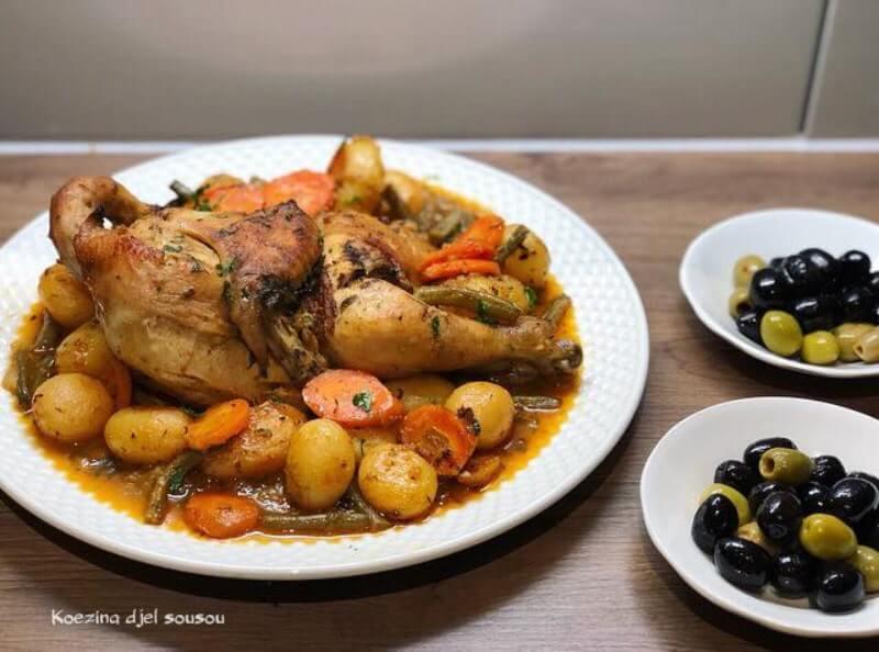 Geroosterde kip met krieltjes en groente