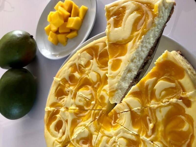 Mango cheesecake uit de oven